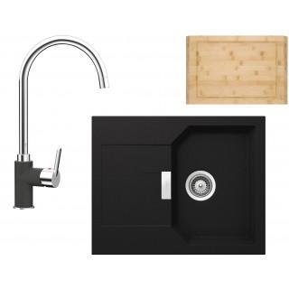 Set Schock 2 (dřez Manhattan D-100XS + baterie Simi + krájecí deska) Onyx