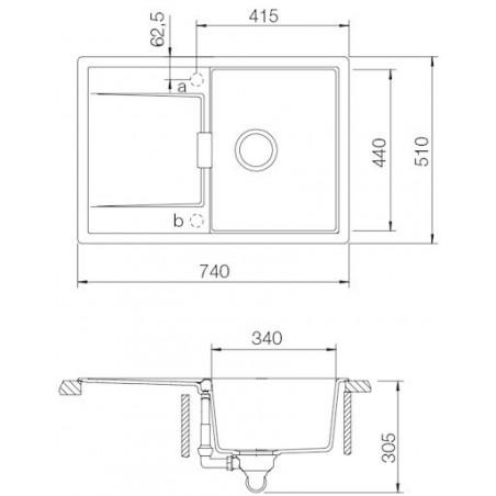 Set Schock 5 (dřez Mono D-100S + baterie Altos S) Carbonium